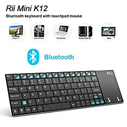 Rii K12BT Ultra Slim Portable Mini Wireless Bluetooth Keyboard With Large Size Touchpad Mouse ,Stainless Steel Back Cover For Windows 8.1, 10, Surface Pro 2,3,Linux /Android OS Tablet PC Smart TV Box