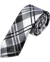 KINGSO Homme Femme Cravate A Carreaux Soie Slim Pour Fête Mariage Soirée Multicolore Tie Necktie Blanc