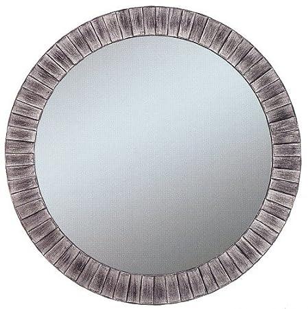 Alpine Art and Mirror Lyon Burnished Silver Wall Mirror, Round by Alpine Mirror & Art