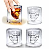 LOHOME Fashionable Creative Crystal Double Layer Glass Cup Skull Head Shaped Wine Beer Juice Glass Shot Glass Goblet