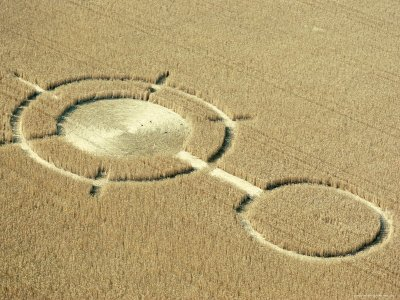 Aerial View of Crop Circles in a Wheat Field