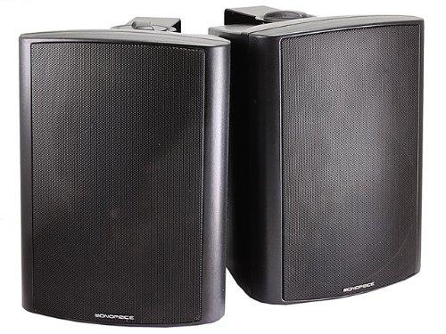 Monoprice 107495 2-Way 8-Ohm Active Wall Mount Speakers, Black (Pair)