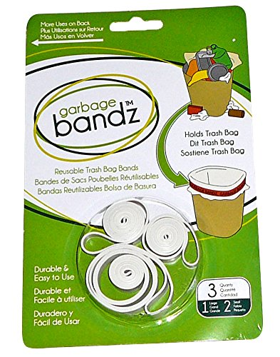 Garbage Bandz Reusable Elastic Rubber Bands For Trash Cans, 1-Pack (3 Pieces) (Rubber Band Trash Can compare prices)