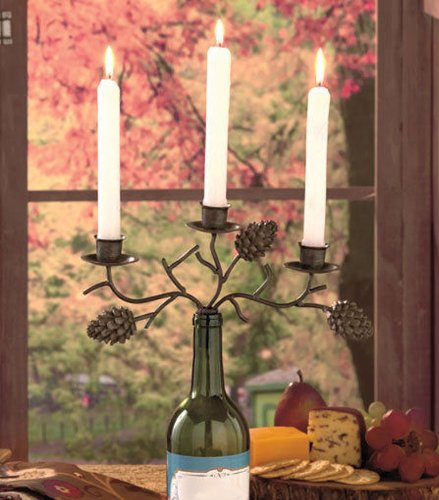 Three-Candle Rustic Antiqued Bronze Metal Pine Cone Design Wine Bottle Candelabra