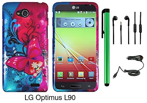 Premium Vivid Design Snap-On Protector Hard Cover Case For Lg Optimus L90 (D415) (Us Carrier: T-Mobile) + Car Charger + 3.5Mm Stereo Earphones + 1 Of New Assorted Color Metal Stylus Touch Screen Pen (Pink Butterfly Bliss Blue Swirl)