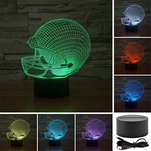 Football Helmet Colorful Sport Patterns Acrylic Visual Touch Table Lamp Bar Art Decor USB 3D LED Desk Night Light 3D-TD58