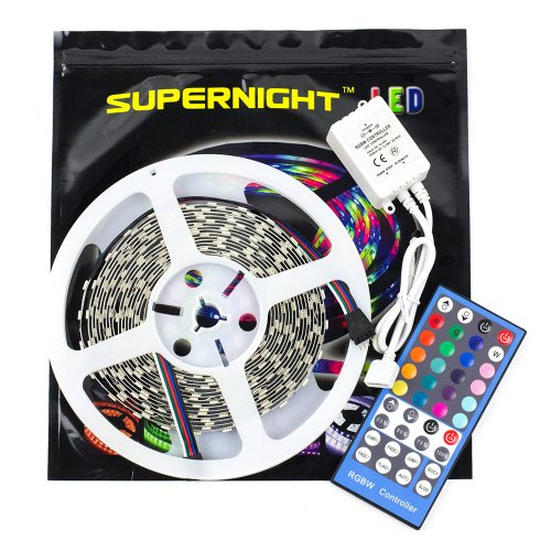 Supernight Rgbw Led Strip Lighting 16.4Ft 5M 5050 300Leds Non-Waterproof Color Changing Rgbw Led Flexible Lights + 40 Key Rgbw Remote Controller - White Roll
