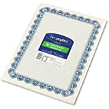 Geographics Parchment Paper Certificates, 8.5 x 11 Inches, Blue Royalty Border, 50 per Pack (22901)