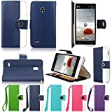 Cellularvilla PU Leather Wallet Card Flip Open Pocket Case Cover for Lg Optimus L9 P769 T-mobile (Dark Blue White)