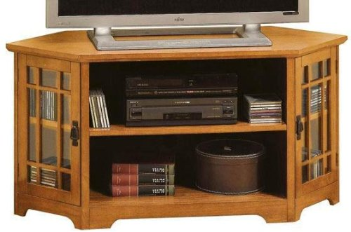 Cheap Craftsman Corner Glass door Wide screen Tv Stand With Open Storage (B001XZZITE)