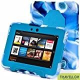 "New Hot Item High Quality Kindle Fire HD 7""Cover Case Slim Fit Silicone Plastic Dual Protective Back Cover Kid Proof Case Standing Case for Amazon Kindle Fire HD 7 Inch(will Only Fit Kindle Fire HD 7""Previous Generation)-multiple Color Options (Camo Blue/Light Blue)"