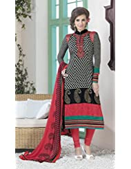 Designer Dress Material Orange Green Pink Semi Stiched Straight Cut Salwar Kameez Suit.