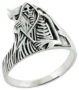 Sterling Silver Grim Reaper Ring 9/16 inch, size 7.5