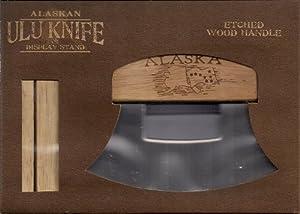 Alaskan Ulu Knife w/Etched Handle Outlining State, Flag & Map of Alaska
