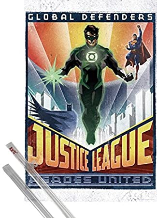 Poster + Hanger: DC Comics Poster (36x24 inches) Green Lantern Art Deco and 1 set of 1art1® Poster Hangers