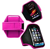 Wayzon Hot Pink Adjustable Sports GYM Jogging Running Riding Bike Cycling Dancing Armband Case Cover Skin Pouch Pocket For Alcatel One Touch Idol Ultra