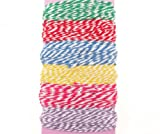 60M Bakers Twine Selection Twisted Cord Green Red Blue Yellow Pink Lilac Decorative Ribbon For Gift Wrapping Card Making Weddings Crafts and Scrapbooking