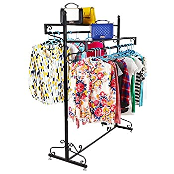 Victorian Style Boutique Clothes / Garment Display Rack w/ Dual Hangrail & Cargo Shelves, Black - MyGift®