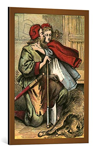 """Quadro con cornice: English School """"Death of the wolf"""" - stampa artistica decorativa, cornice di alta qualità, 55x80 cm, Rame spazzolato"""