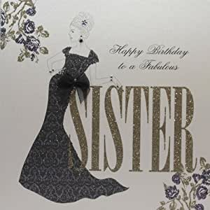 """ Happy Birthday To A Fabulous Sister "" Handmade Birthday Card - G016: Amazon.co.uk: Office Products"