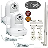 Foscam FI9821W V2 2-Pack Bundle with 9dbi Antenna, 10ft Power Extension & Universal Bracket - White