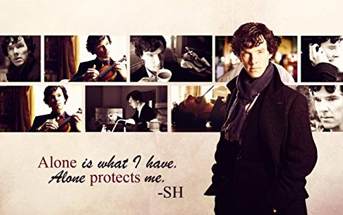 Cartoon world F1272 14x25 inches Sherlock BBC series serial Movie Poster holmes watson benedict cumberbatch Alone protects me for Fans Gift (Sherlock Holmes Fan compare prices)