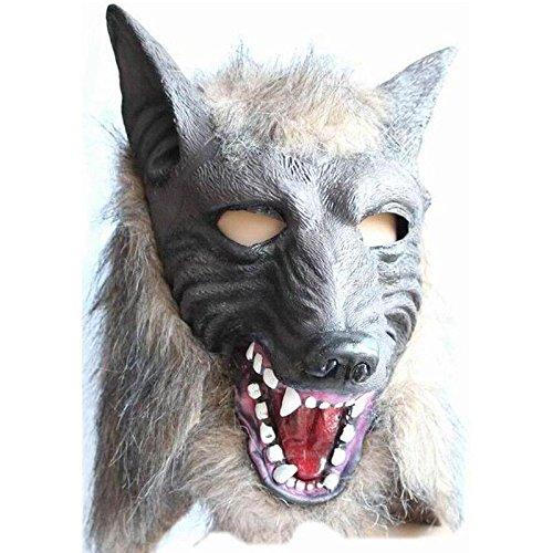 [Syrinx Holloween Party Cool Wolf Head Mask Creepy Latex Fur Mane Gag Hat Halloween Costume Cosplay] (Gi Joe Cosplay Costumes)