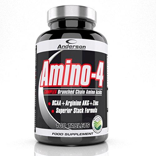 Integratore Anderson Amino-4 Complex 100 cpr Aminoacidi Ramificati 2:1:1 Formula anabolica Leucina - Isoleucina - Valina - Arginina AKG - Vitamina b6