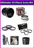 Panasonic Lumix DMC-FZ18 DMC-FZ28 DMC-FZ35 FZ35K Ultimate 15 Piece lens Kit Package Includes 0.20X Super Wide Angle Fisheye lens, 2.2X HD Telephoto Lens, 5PC Pro Macro Lens Set, 3PC UV, PL, FLD Filter Set, Tube Adapter Included