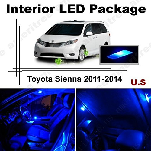 Ameritree Blue Led Lights Interior Package + Blue Led License Plate Kit For Toyota Sienna 2011 - 2014 (11 Pieces)