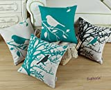 """SET OF 4 Euphoria Home Decorative Cushion Covers Pillows Shell Cotton Linen Blend Vintage Black Teal Bird Branches Tree Combo Set 18"""" X 18"""""""