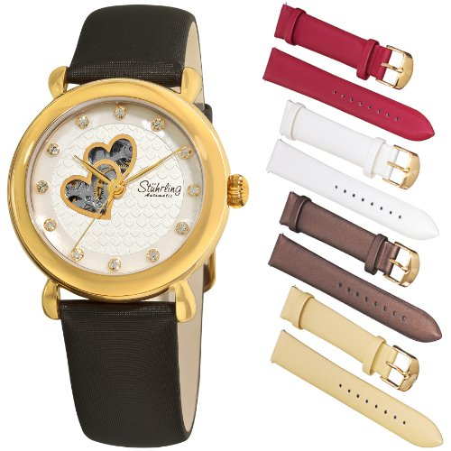 Stuhrling Original Women's 108EH.12352 Amour Cupid Valentine Automatic Skeleton Swarovski Accented Gold Tone Watch Gift Set