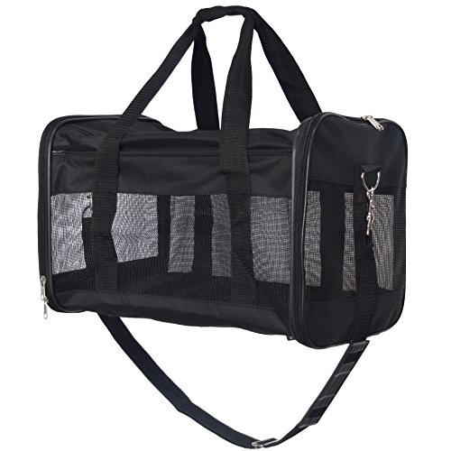 Hiado Collapsible Soft Sided Pet Travel Carrier Bag (17.7x11x11 Inch, Black)