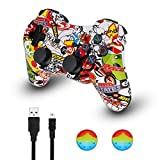 PS3 Controller Wireless Dualshock Joystick - KLNO PS30 Bluetooth Gamepad Sixaxis, Super power, USB Charger, Sixaxis, Dualshock3 including 1 cable For Playstation 3 (Color: Graffiti, Tamaño: medium)
