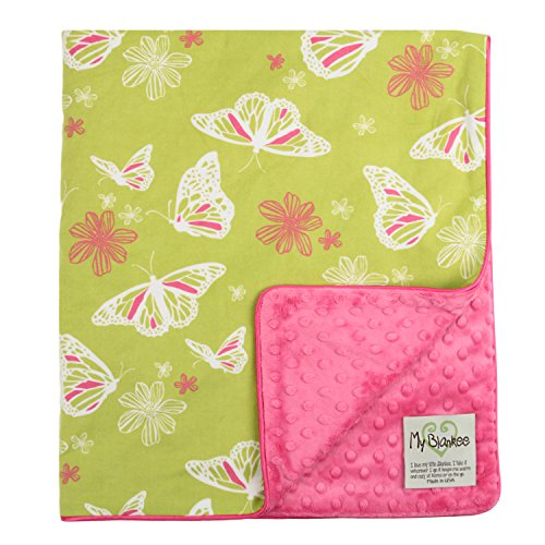 "My Blankee Butterfly Organic Cotton Lime Green w/ Minky Dot Raspberry Baby Blanket, 30"" X 35"""