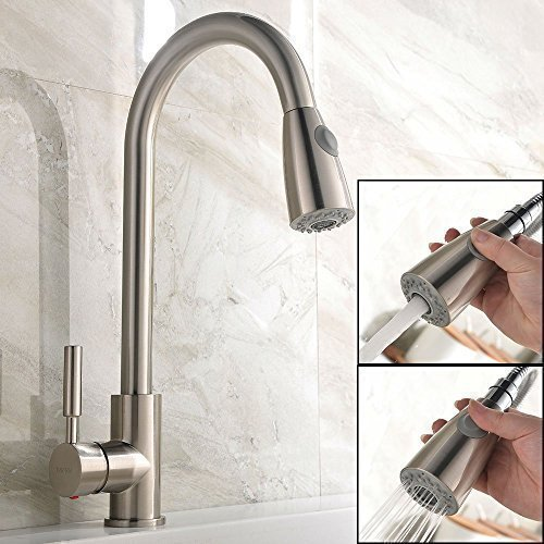 Ufaucet Modern Stainless Steel Single Handle Pull Down