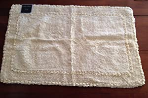 Laura Ashley Pale Yellow Rectangular Cotton Bath Mat Rug 27 Inc