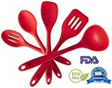 Silicone Kitchen Utensils Set (5 Piece) - Hygienic Solid Silicone Design - 100% FDA Grade & BPA Free - Premium Kitchen Tools Including Silicone Turner, Spoonula, Mixing Spoon, Slotted Spoon, Ladle - Non Stick Cooking Utensils Set - Heat Resistant Baking Tools, Flexible, Easy to Clean - FREE Cooking eBook - LIFETIME No Fuss Guarantee