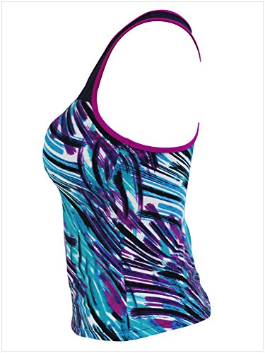 meinice Zigzag Bianco e nero stampa Mesh Splice Tankini Top Purple Small