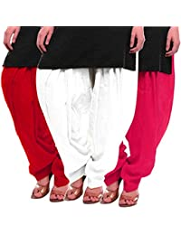 Women's Red White-Rani Cotton Patiala Salwar
