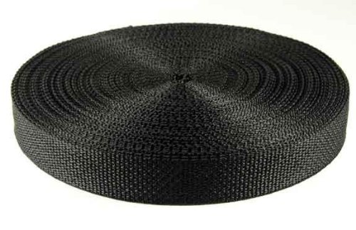 1 Inch 25 Yards Black Polypro Webbing