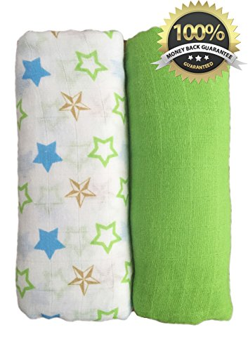 SPECIAL LAUNCH - Muslin Swaddle Blankets 2 Pack - Seben Baby - 100% Cotton - 47 inch x 47 inch Large Softest Muslin Receiving Blankets - Unisex for Boys or Girls