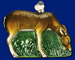 Old World Christmas Grazing Doe Glass Holiday Ornament #12200