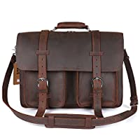 "Kattee Real Leather 16"" Laptop Briefcase Large Messenger Bag Backpack Handbag by Kattee"