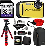Fujifilm FinePix XP90 Waterproof digital camera (Yellow), 32GB Class 10, Memory Card Reader, 12