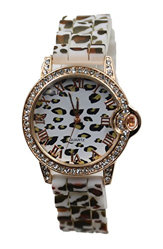 L&K Shop Women Ladies Fashion Polyurethane Crystal Gold Case Watch Leopard Print Strap