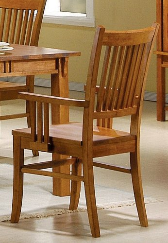 Set of 2 Dining Arm Chairs Mission Style Medium Brown Finish