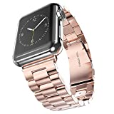 Evershop®Apple Watch Band 42mm Stainless Steel Strap Wrist Band Replacement Metal Clasp for Apple Watch All Models 42mm(Stainless Steel Strap-42mm Rose Gold)