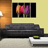 Multiple Frames Printed Multiple Color Flower Like Modern Wall Art Painting - 4 Frames (127x76 Cm)