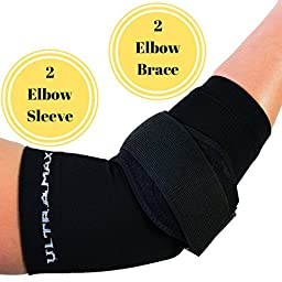 Elbow Sleeve and Brace (Large, Black) Includes 2 Elbow Sleeves and 2 Elbow Braces